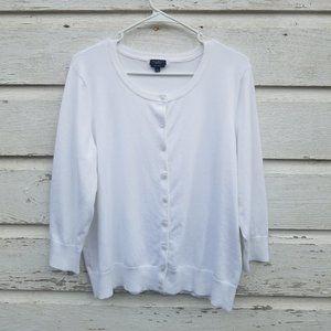 Talbots White Pima Cotton Button Cardigan Sweater